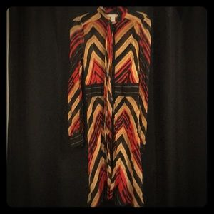Chevron Long Sleeve DVF Tie Neck Dress